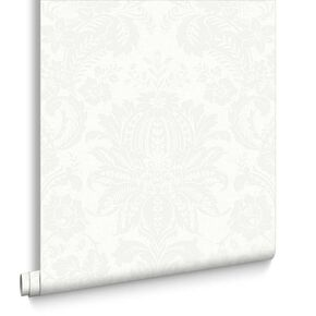 Venetian Damask White Wallpaper, , large