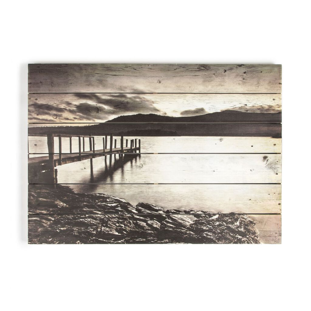Tranquil Jetty Print On Wood Wall Art, , large