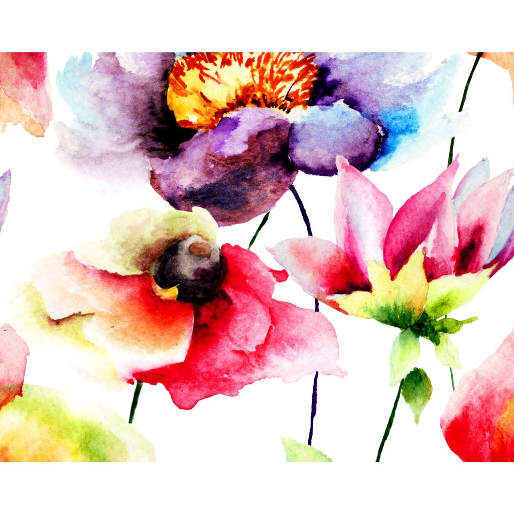 Watercolour Flora Wall Ready Made Mural, , large