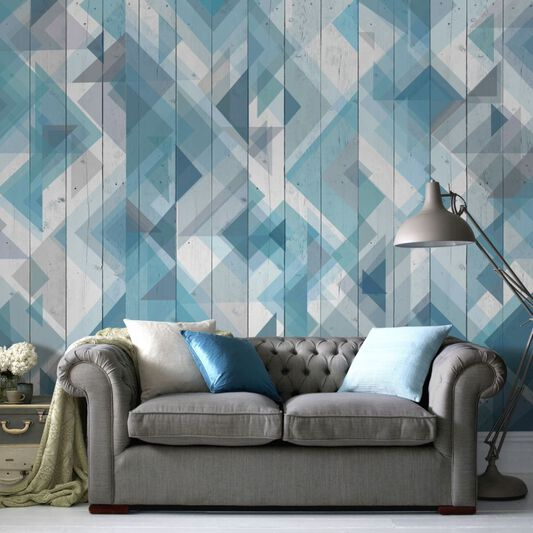 Couture Geo Wood Blue Ready Made Mural, , large
