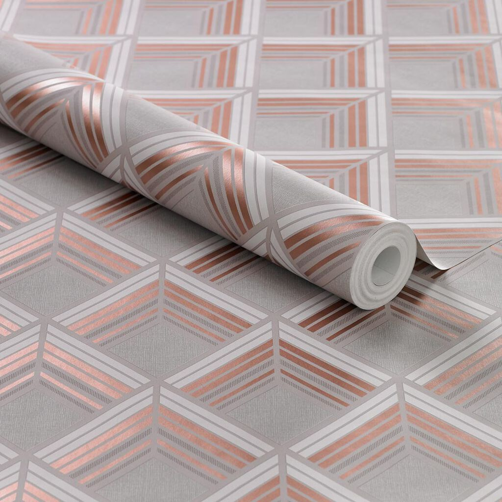 Trifina Geo Taupe & Copper Wallpaper, , large
