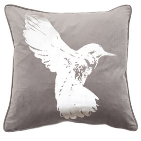 Hummingbird Silver Metallic Cushion, , large