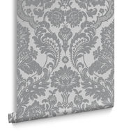 Gothic Damask Flock Grey & Silver Behang, , large