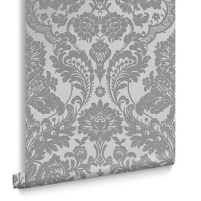 Gothic Damask Flock Gray Silver Wallpaper