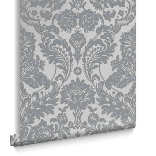 Gothic Damask Flock Grey Silver Wallpaper