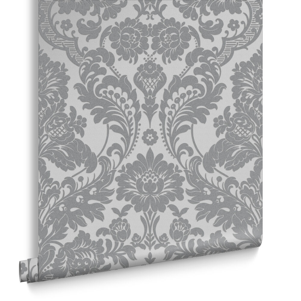 Gothic Damask Flock Grey U0026 Silver Wallpaper, ...