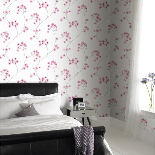 Radiance White and Pink Wallpaper, , large