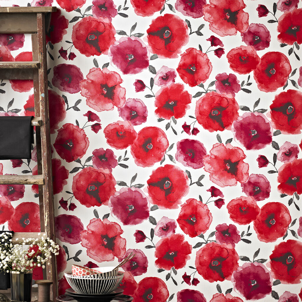 poppies red wallpaper | floral wallpaper | graham & brown
