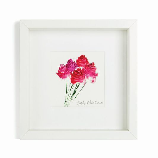 Sally Mackness Pink & Red Roses Hand Painted Framed Wall Art, , large