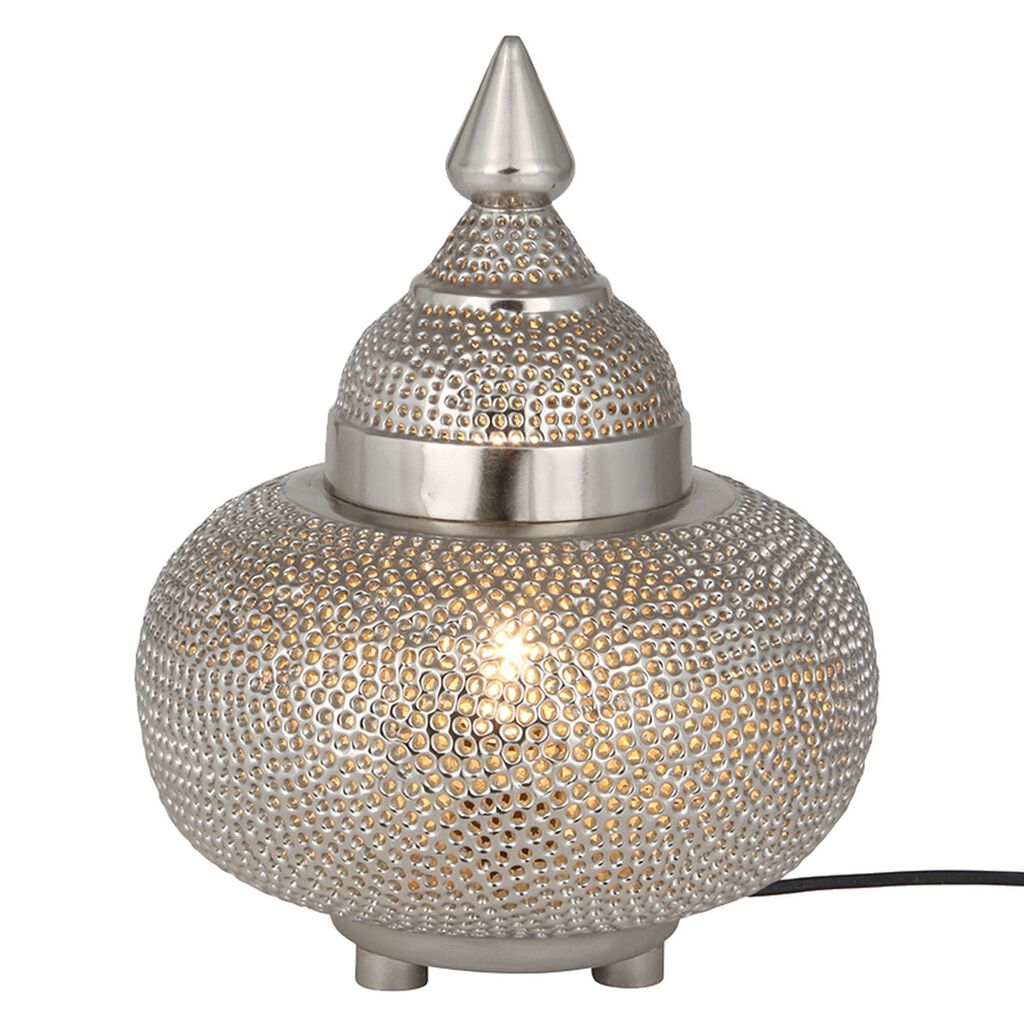 Silver Moroccan Patterned Table Lamp, , large
