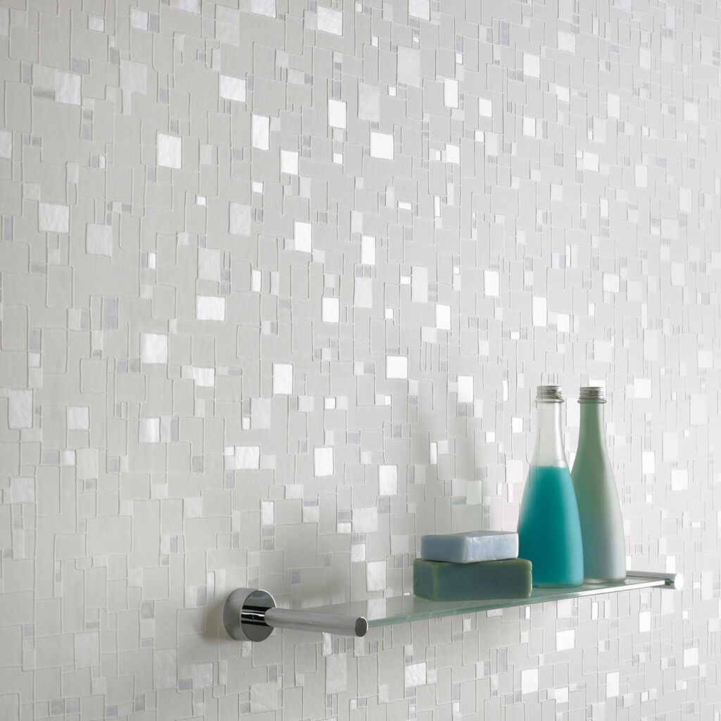 Spa White and Light Blue Wallpaper, , large