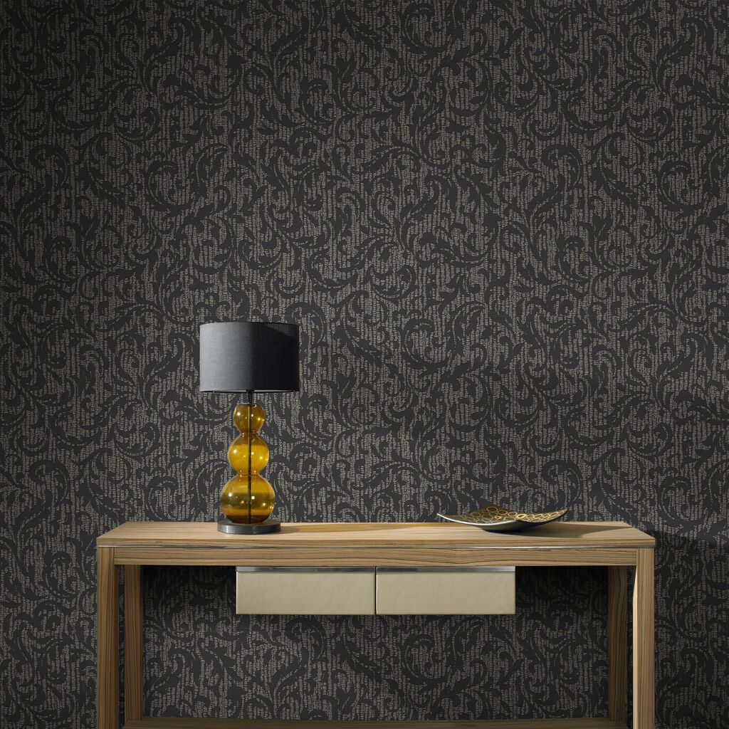 Cashmere Charcoal and Champagne Wallpaper   Graham & Brown