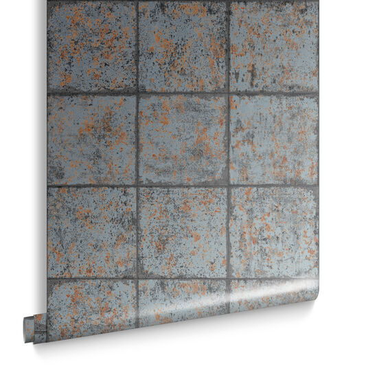 Oxidised Tile Rust Wallpaper, , large