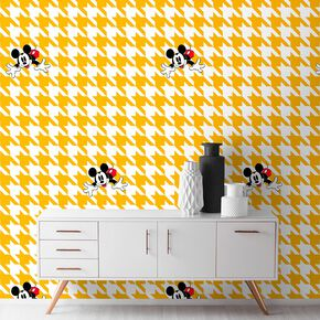 Mickey Houndstooth Yellow Wallpaper, , large