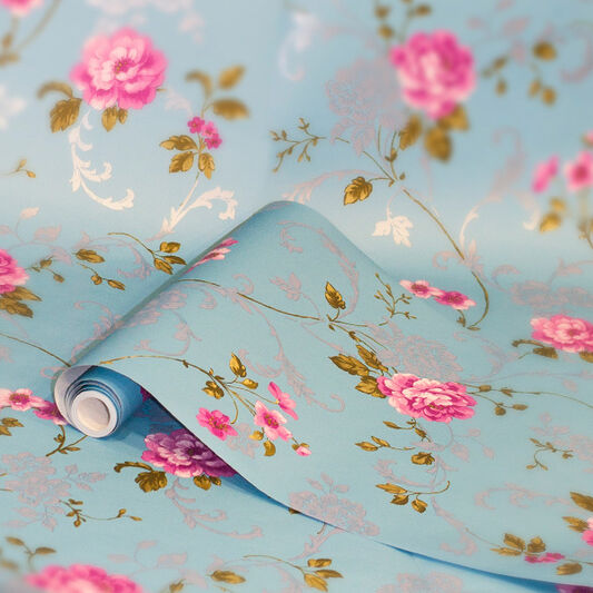 Northern Rose Blue and Pink Wallpaper, , large