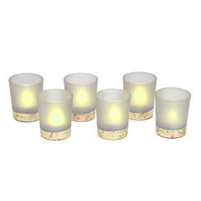 6 Light Grey and Gold Tealight Holders, , large