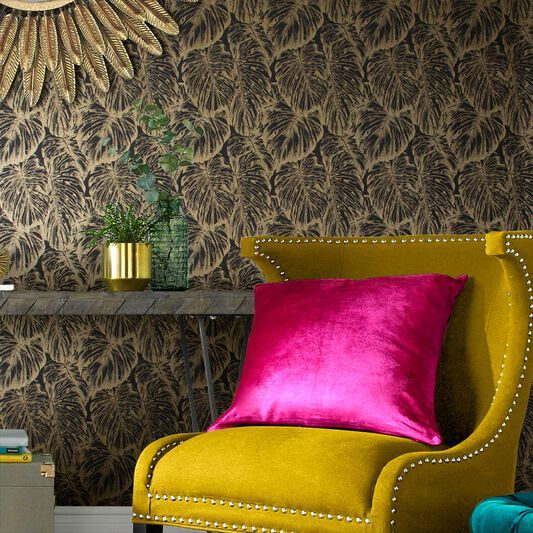 Tropical Charcoal Wallpaper, , large