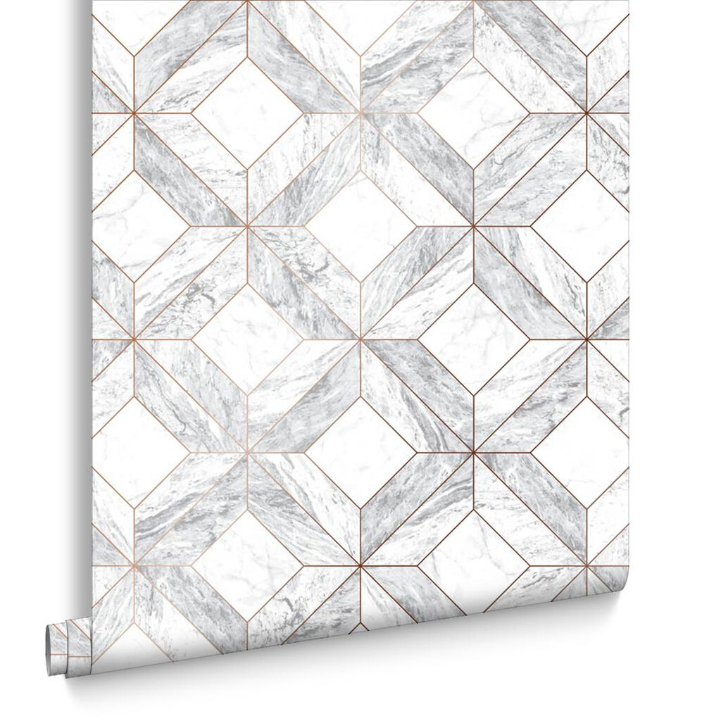 Marble Marquetry White & Rose Gold Wallpaper, , large