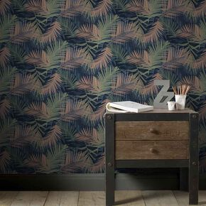 Jungle Glam Blue & Green Wallpaper, , large