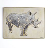 Metallic Rhino Handpainted Framed Canvas Wall Art, , large