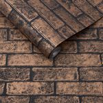 Metallic Brick Bronze Black Wallpaper
