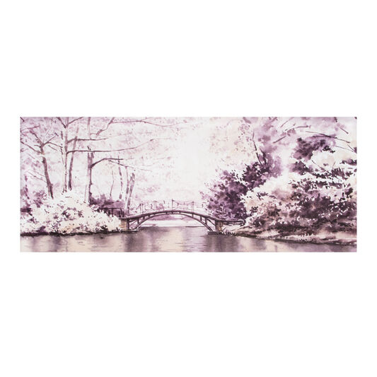Watercolour Forest Bridge Printed Canvas Wall Art, , large