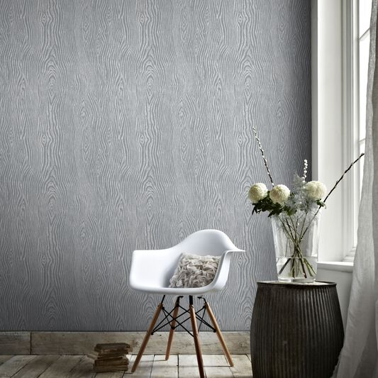 Cypress grey and silver wallpaper graham brown for Grey silver wallpaper living room