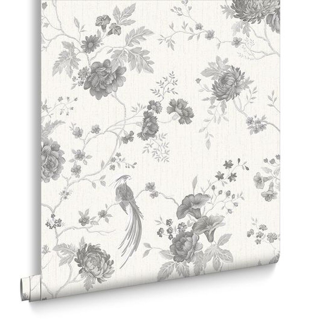 Exotica White & Silver Behang, , large