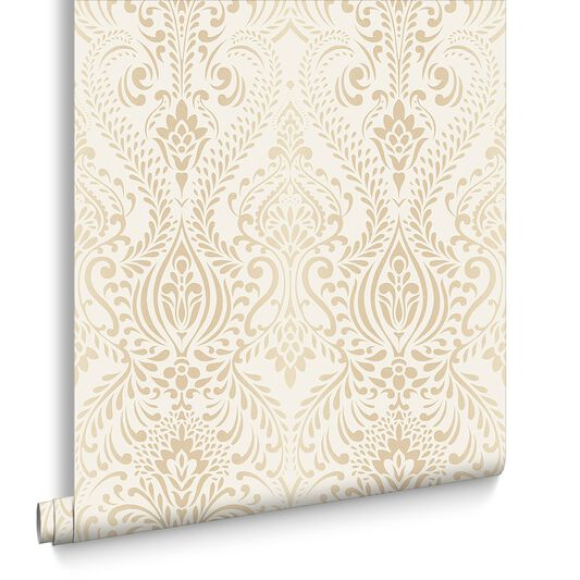 Glamour Damask Cream and Gold Wallpaper, , large