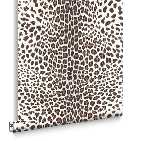 Leopard White and Beige Wallpaper, , large
