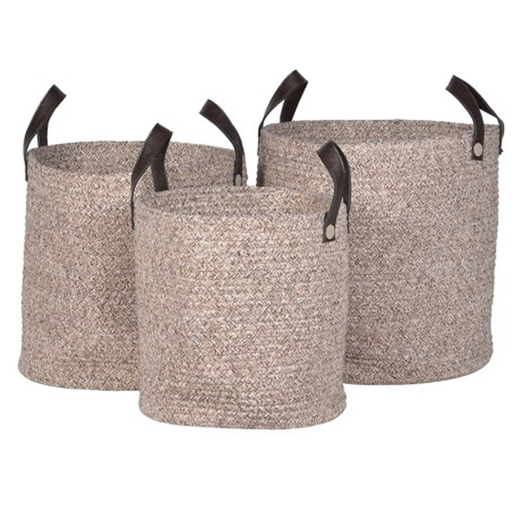 Natural Woven Set of 3 Baskets, , large
