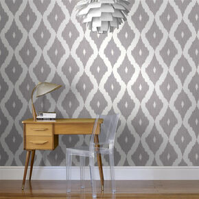 Large Kelly S Ikat White And Soft Gray Wallpaper