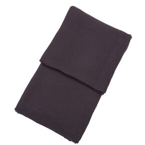 Charcoal Grey Knitted Throw, , large