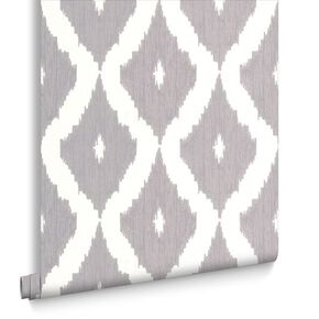 Kelly's Ikat White & Soft Grey Behang, , large