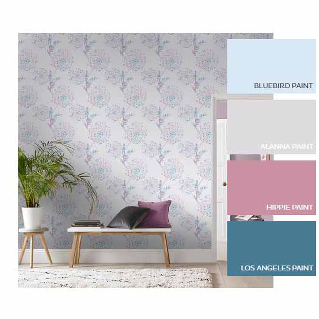 Wish Lilac & Grey Wallpaper, , large