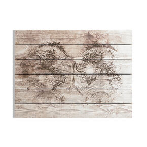 Wood World Map Print On Wood Wall Art, , large