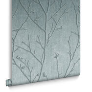 Water Silk Sprig Teal Behang, , large