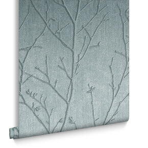 Water Silk Sprig Teal Wallpaper, , large