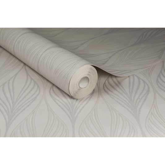 Optimum White and Silver Wallpaper, , large