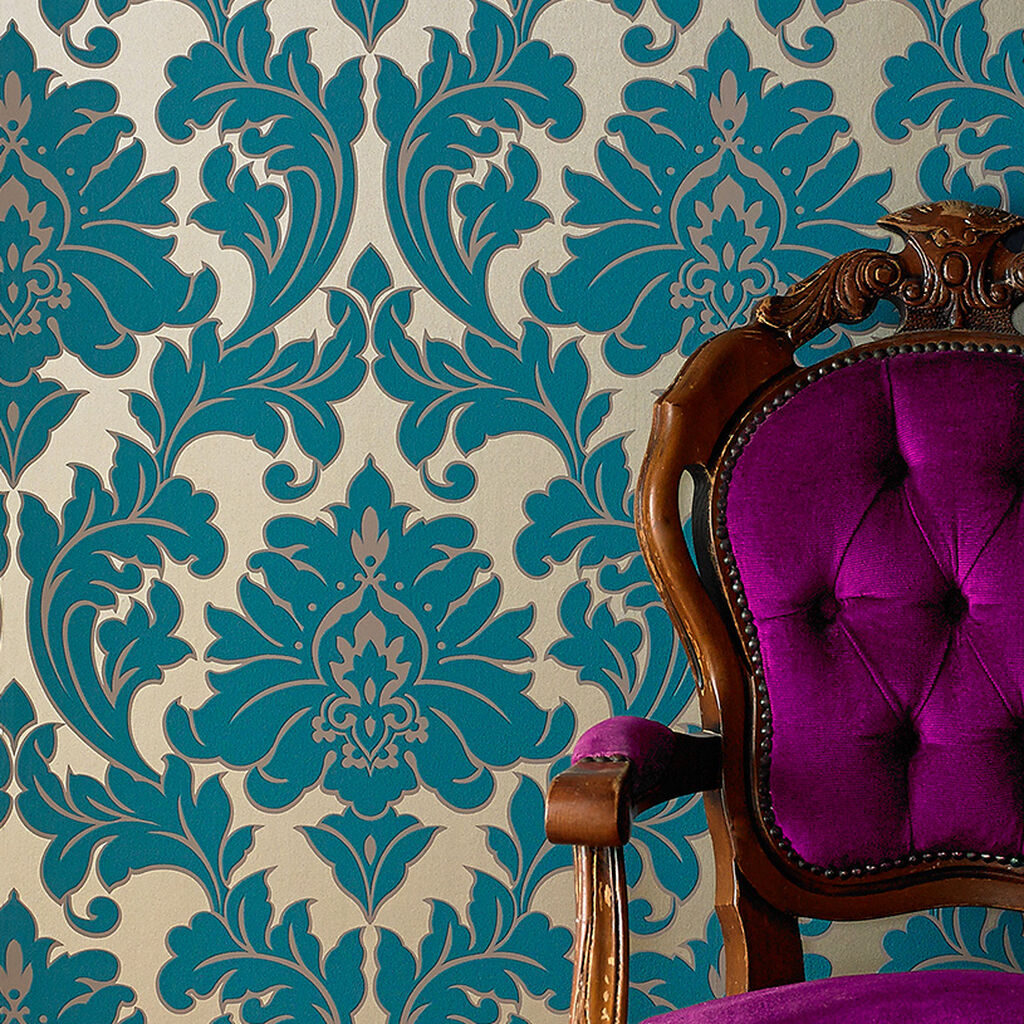 majestic teal wallpaper damask wallpaper graham brown. Black Bedroom Furniture Sets. Home Design Ideas
