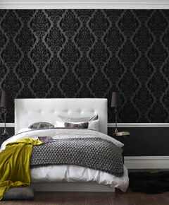 Kinky Vintage Naughty Noir Flock Wallpaper, , large