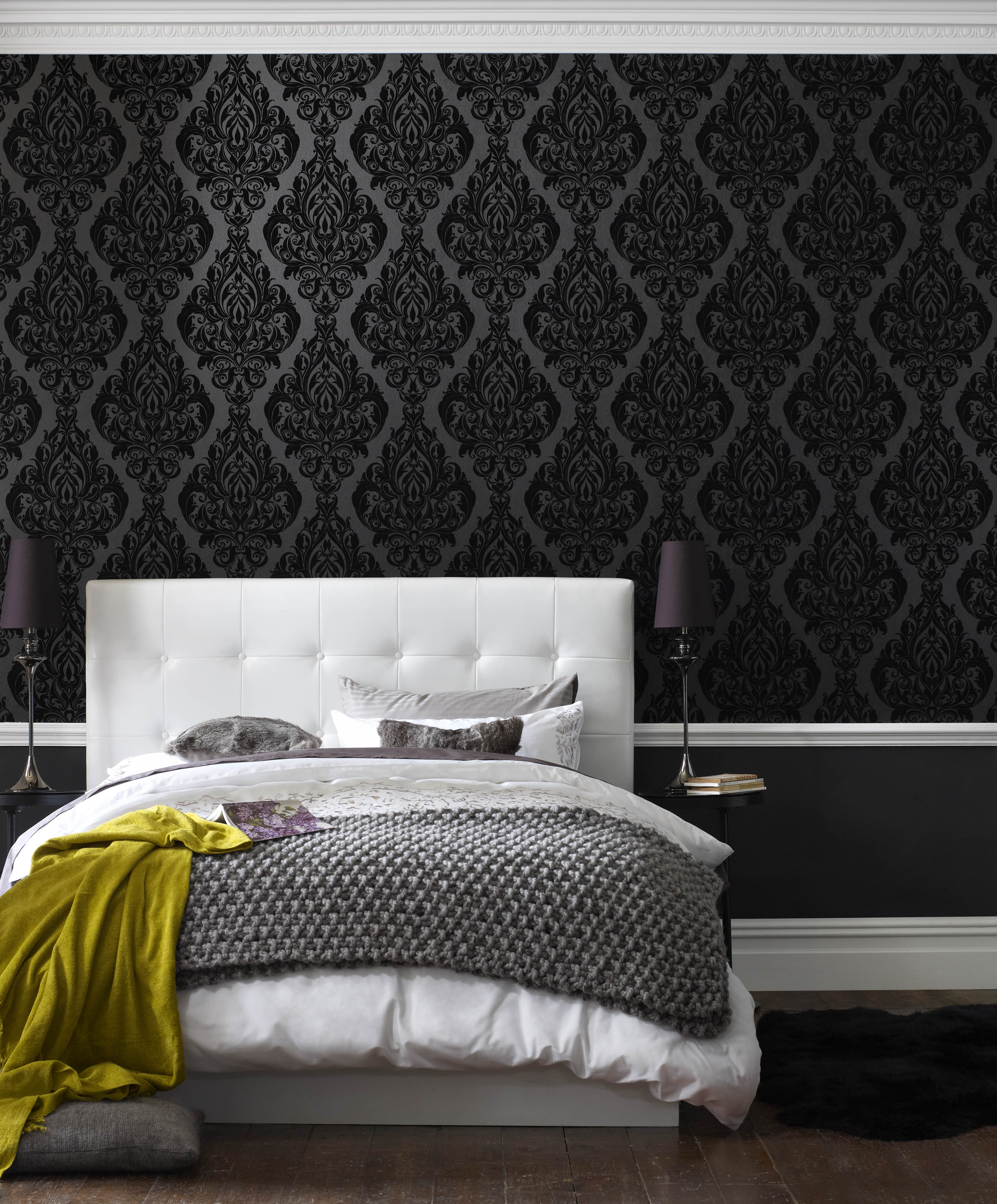 Charming ... Large Kinky Vintage Naughty Noir Flock Wallpaper, ...