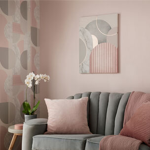 Pink & Grey Art Deco Geo Canvas Wall Art, , large