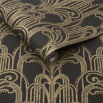 Art Deco Black & Gold Behang