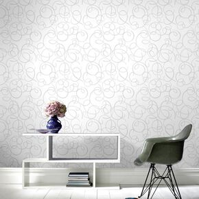 Dance Glitter Silver & White Wallpaper, , large