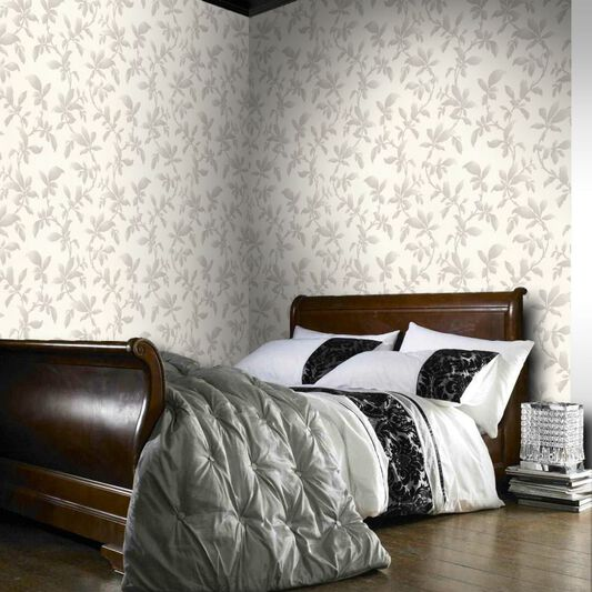 Sarra White and Silver Wallpaper, , large