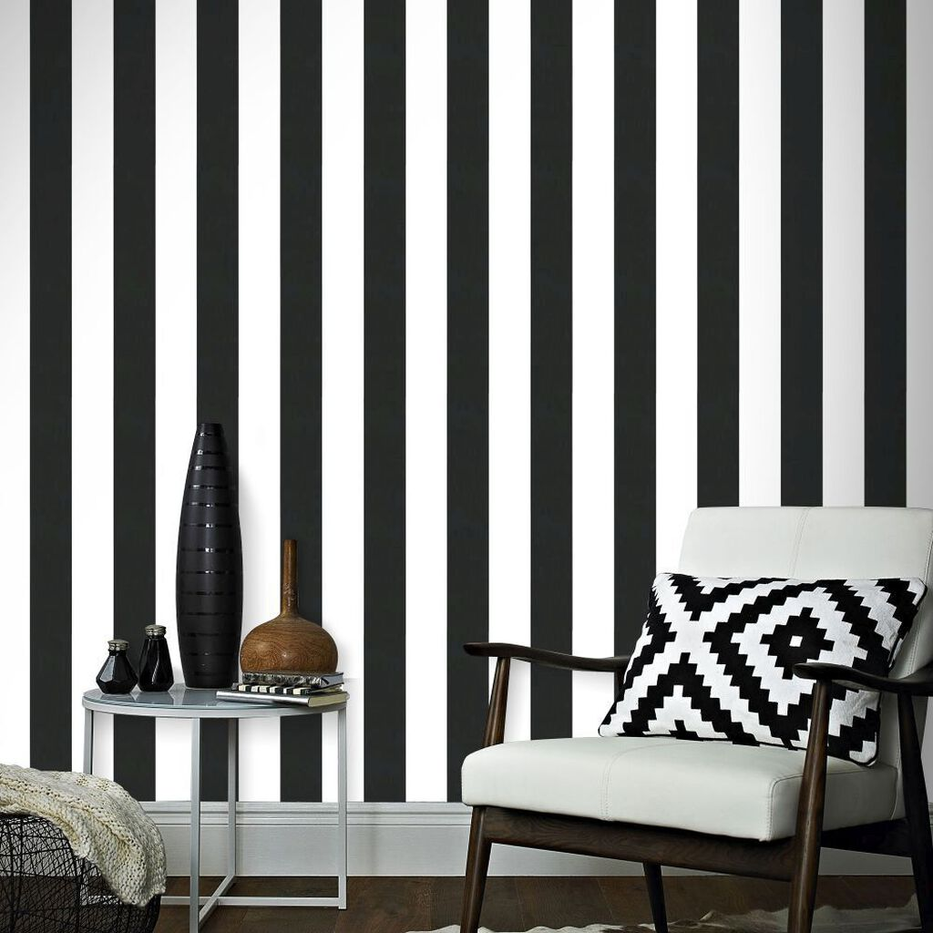 Lynn Stripe Black & White Wallpaper, , large