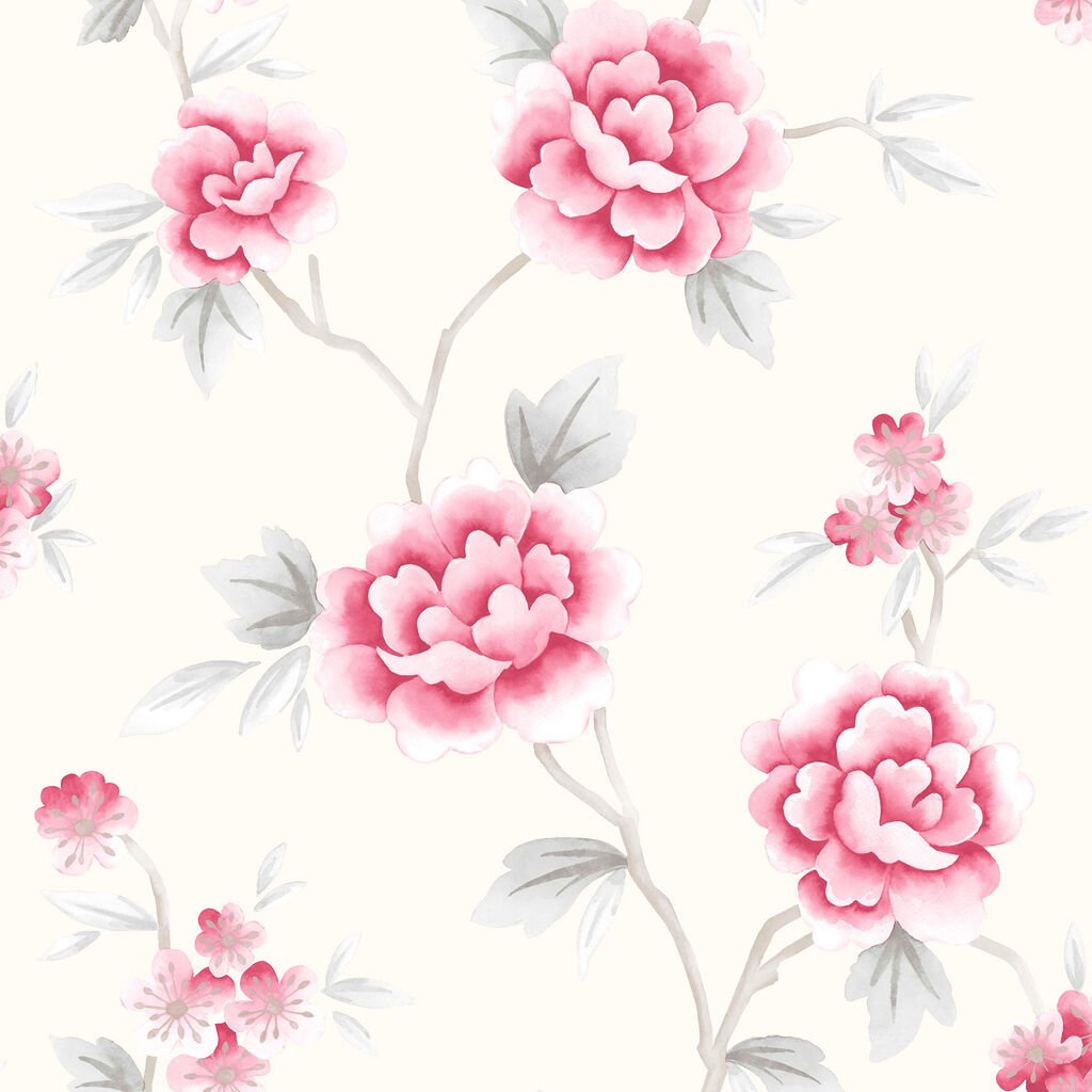 Chinese Blossom Red and Grey Wallpaper, , large