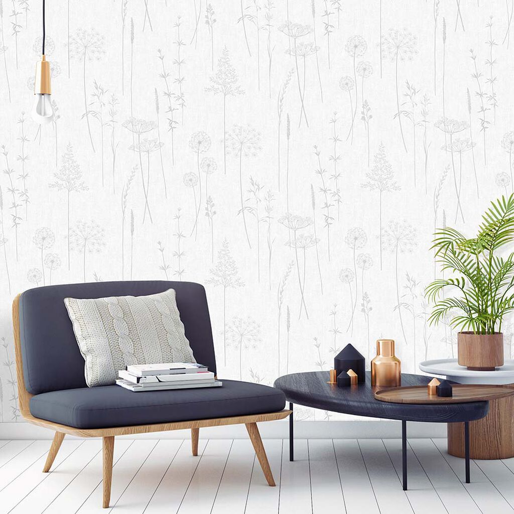 Meadow Silver Wallpaper, , large