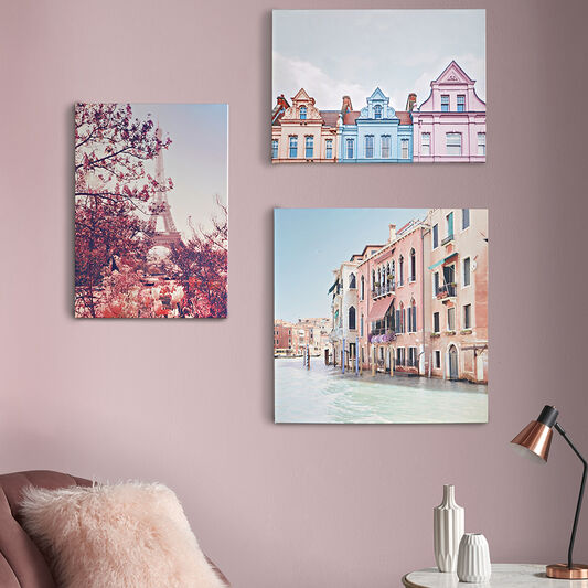 Pretty Pastel Skyline Printed Canvas Wall Art, , large